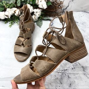Lucky Brand Tazu lace leather gladiator sandals 10